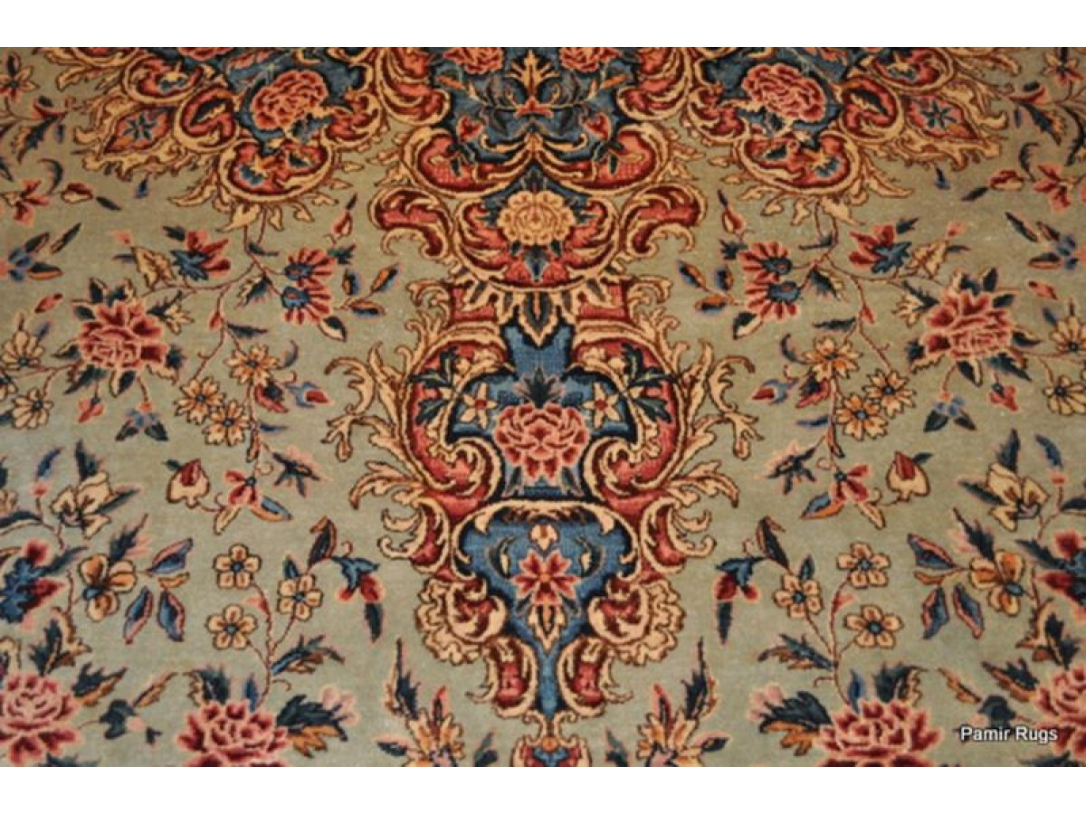 Large Place Size Antique Persian Rug Sage Green Colorful
