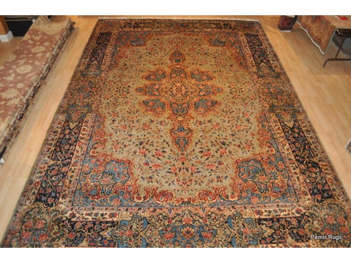 Sold Out Large Antique Persian Kerman Rug Place Size Light Green Color