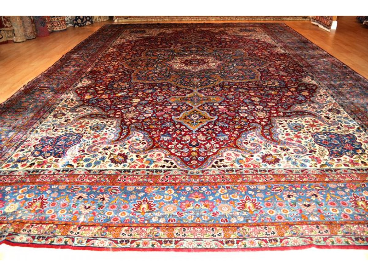 Elegant Palace Size Antique Persian 11 X 16 Kerman Museum Piece