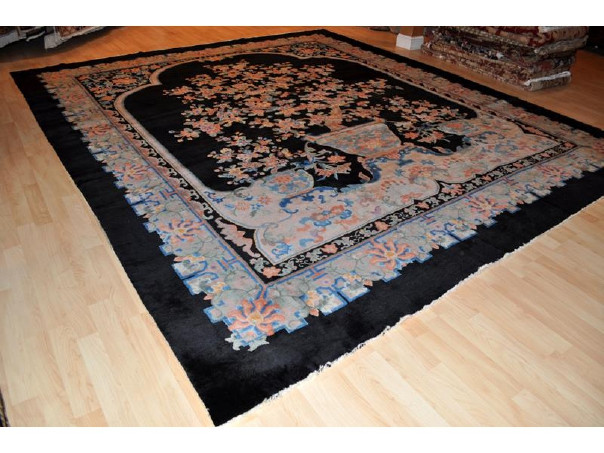 Antique Chinese Art Deco Black Background Peking Rug