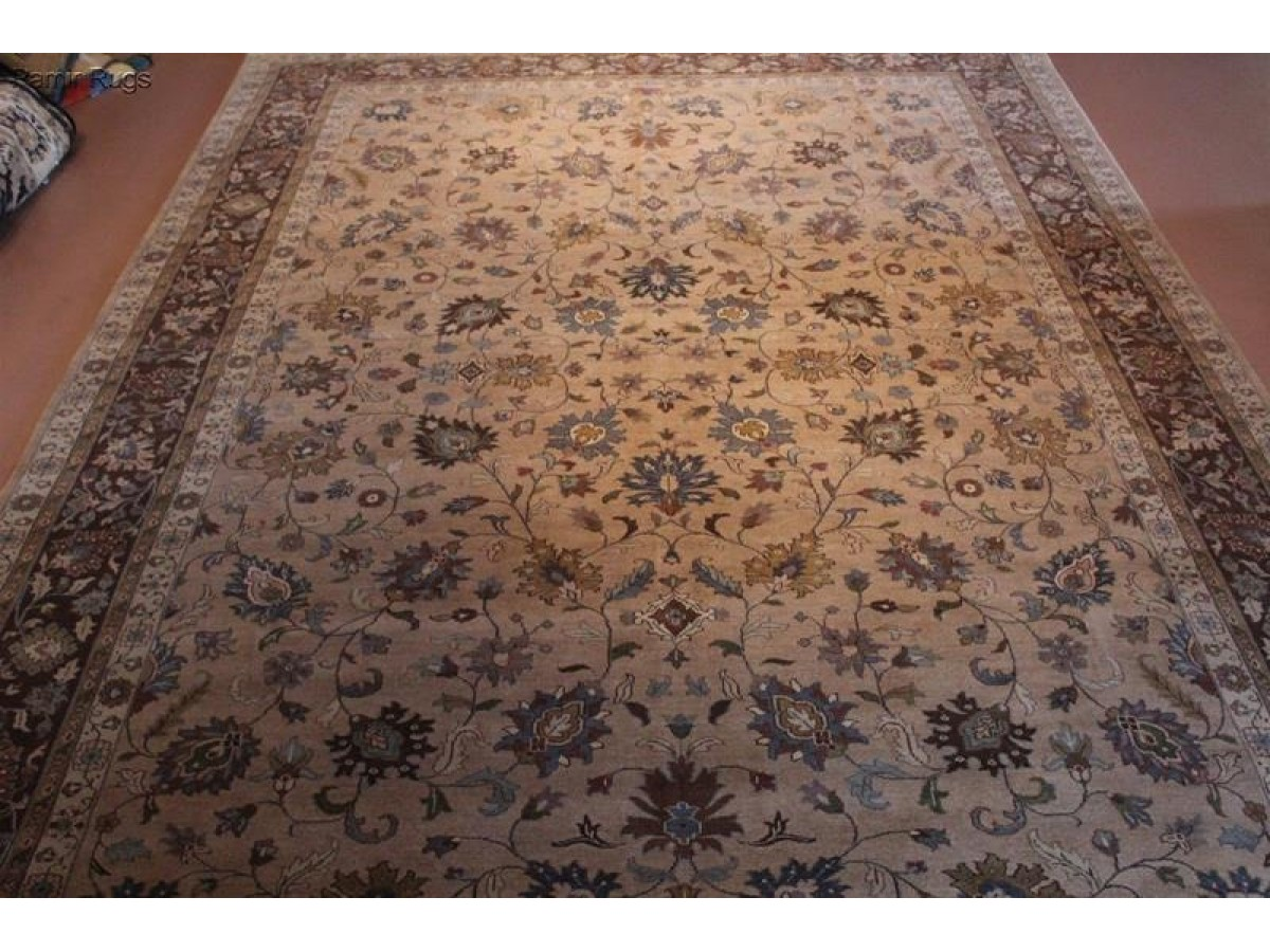 10 X 14 Persian Floral Rug Light Brown Taupe Tan Blue