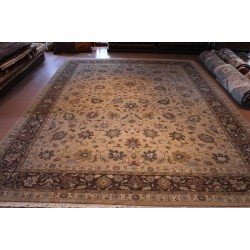 10' X 14' Large Handmade Floral Rug Light Brown tan, Gary  Color
