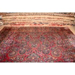 Large Vintage Persian Sarouk 10' X 14' Rug Red Floral Color