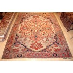 19th Century Large Antique Persian Serapi Beige Background
