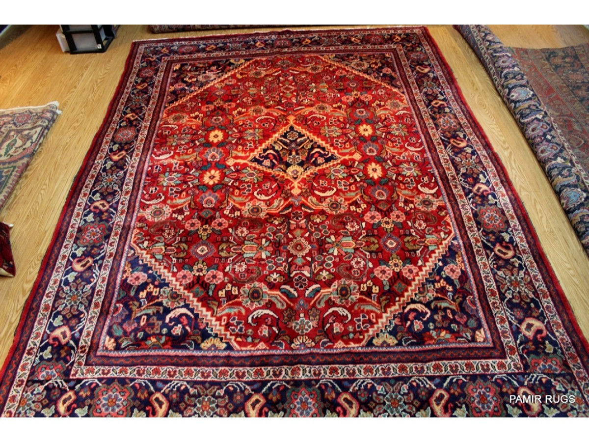 Large Persian Handmade Tabriz With Red Background Made Out