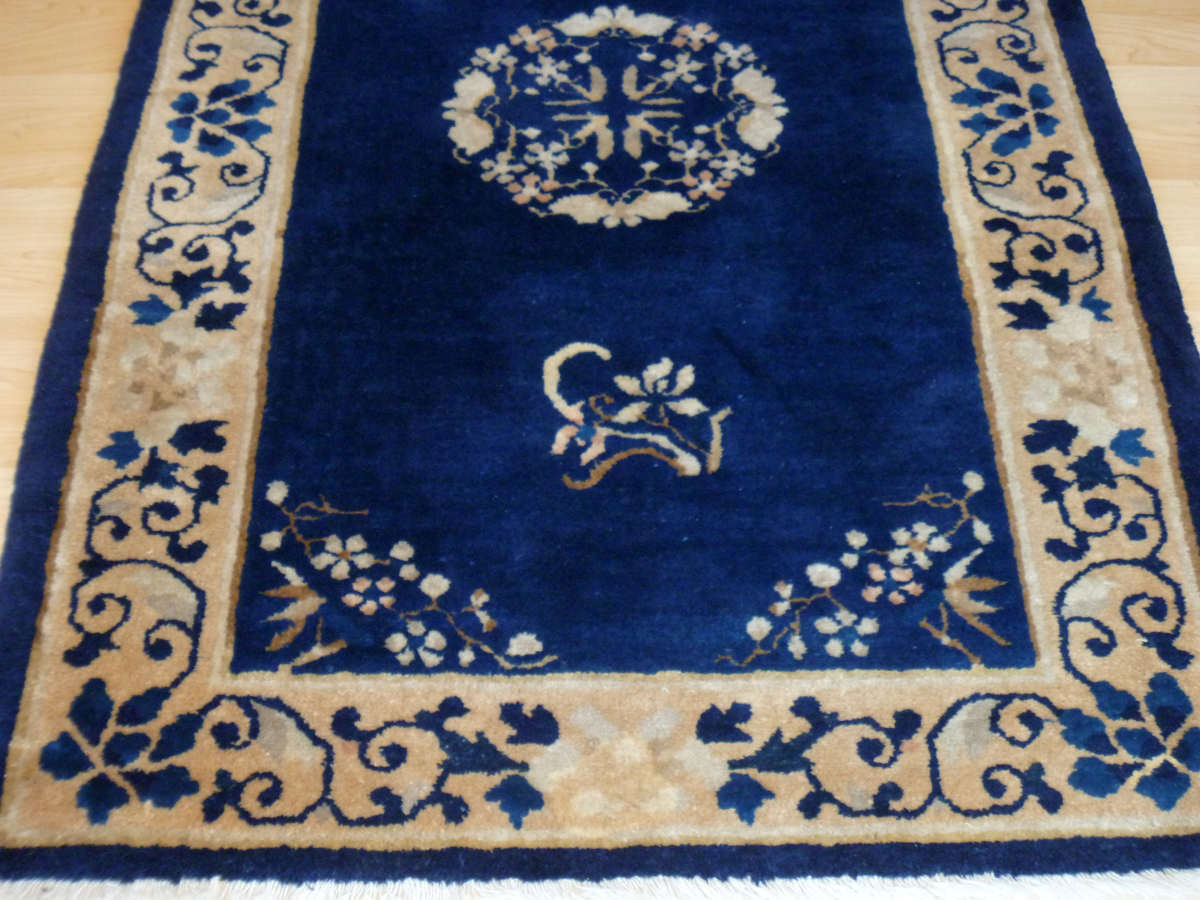 ... Small Handmade Wool Royal Blue Chinese Rug ...