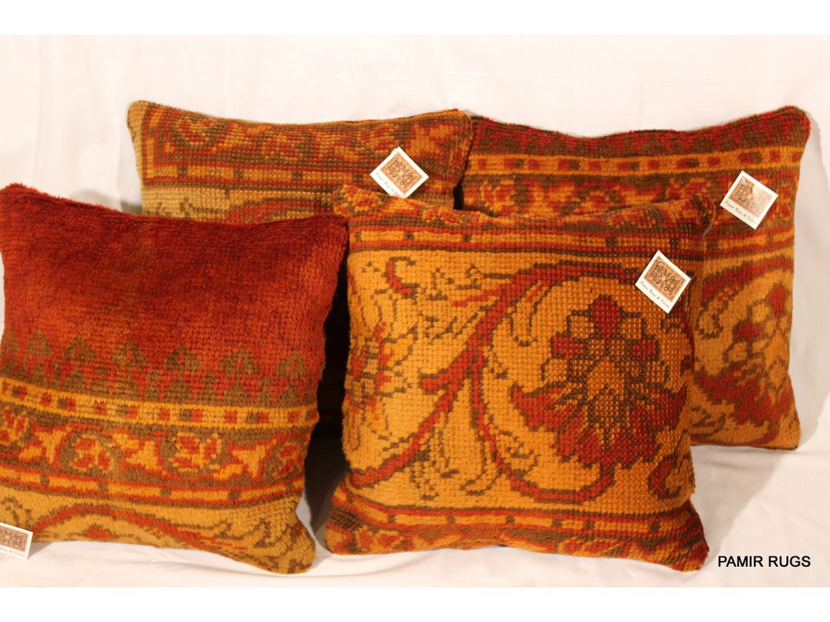Vintage Decorative Throw Pillows : Set of Two Decorative Handmade Pillows made out of Antique Oushak Rug, BUY IT for only $ 950