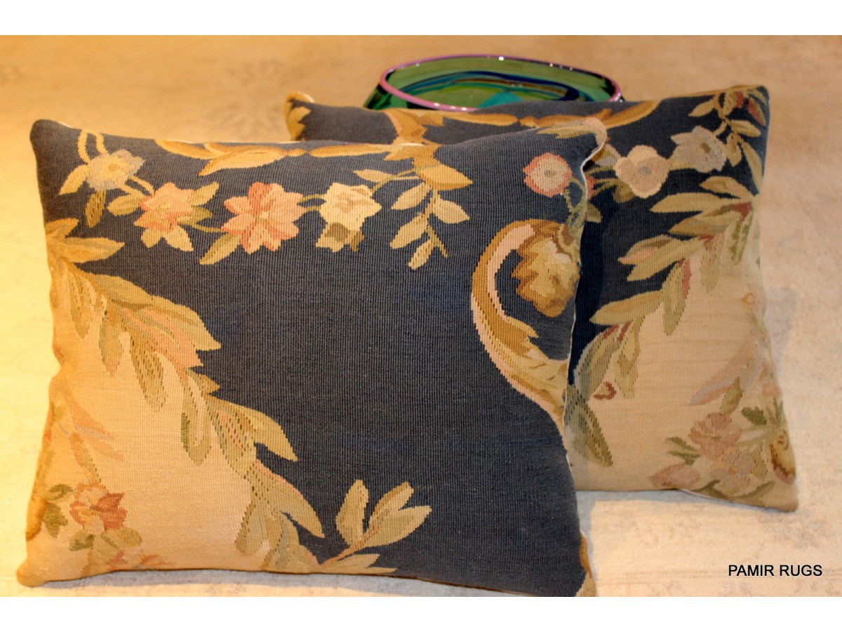 Pair Of Handmade Pillow Made Out Of Handmade Aubusson Rug