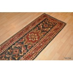 10 Ft Long Hall Runner. Handmade Green Runner. Kazak Rug.