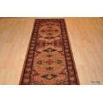 Antique Washed Handmade Hall Runner Persian Heriz Design.