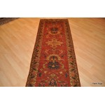 9' Long Hall Runner. Dark Salmon Color Background, Rust and Blue.