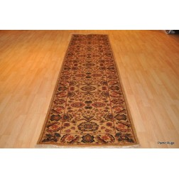 11 Ft. Handmade Hand Knotted Persian Beige Background Hall Runner