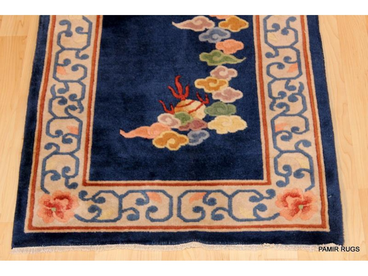 14 Long Handmade Chinese Hall Runner Royal Blue And