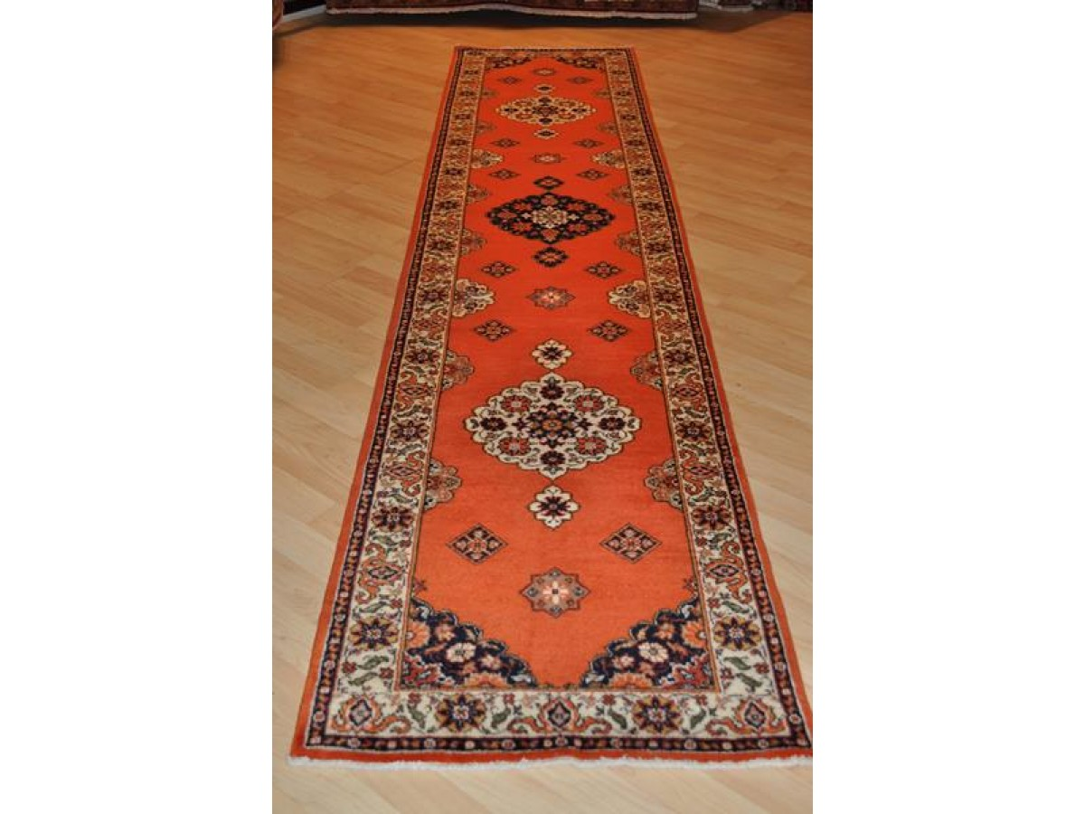 12 Ft Hall Runner Orange Red Persian Tabriz Rug Poppy Red