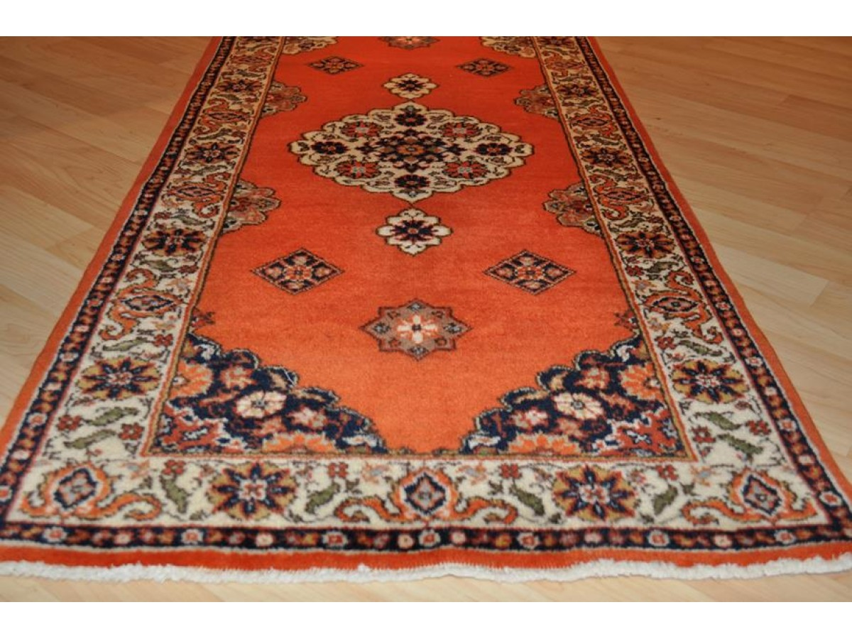 Elegant 12 Ft Hall Runner Orange Red Persian Tabriz Rug