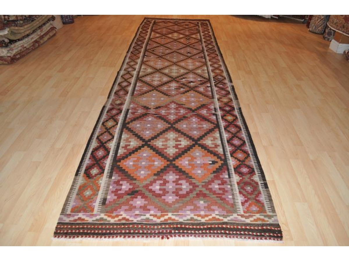 Southwestern Style Diamond Design Kilim Runner 14 Ft Long
