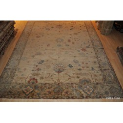 10' X 14' Vegetable Dyed Beige background  Floral Design