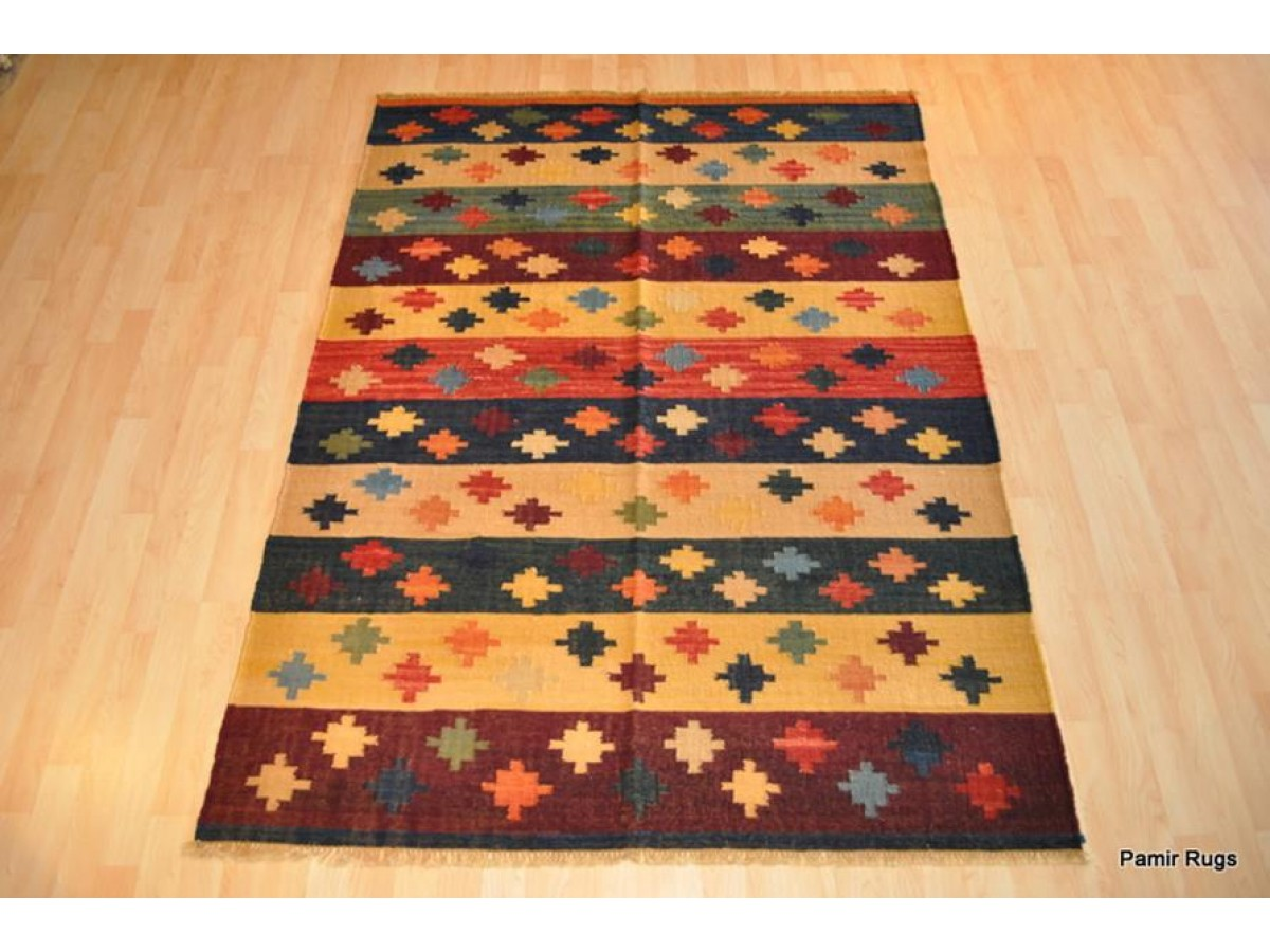Southwestern Style Handmade Rug Colorful Indian Kilim