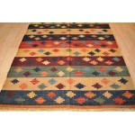 Southwestern Style Handmade Rug, Colorful Indian Kilim.