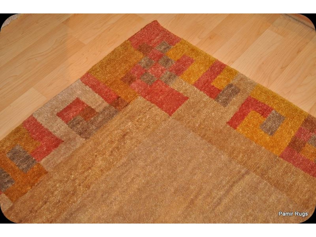 New Rug 5 X 8 Handmade Wool Rug Beige Background Modern