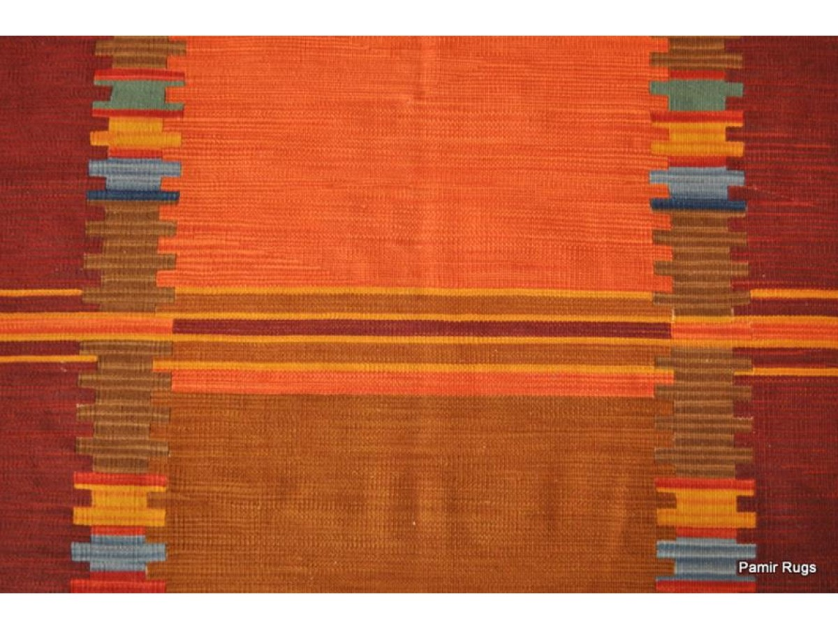 Hand Woven Kilim Rug Made Out Of Wool Orange Red Purple
