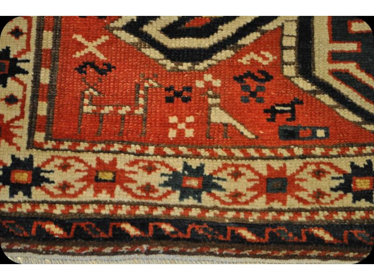 4 X 7 Antique Authentic Caucasian Rug Pre 1900 On Sale