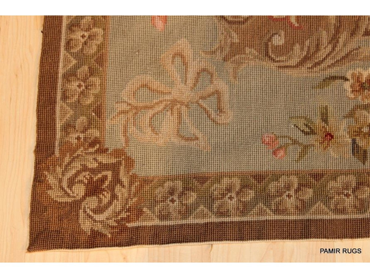 Lovely Handmade Square Rug, Chain Stitched Muted Colors.
