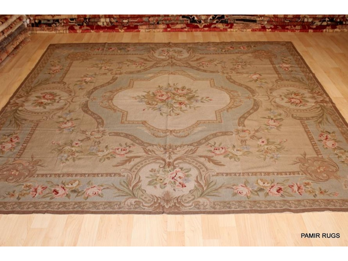 Flat Woven Chain Stitched Rug Tapestry 8 Ft Square Rug