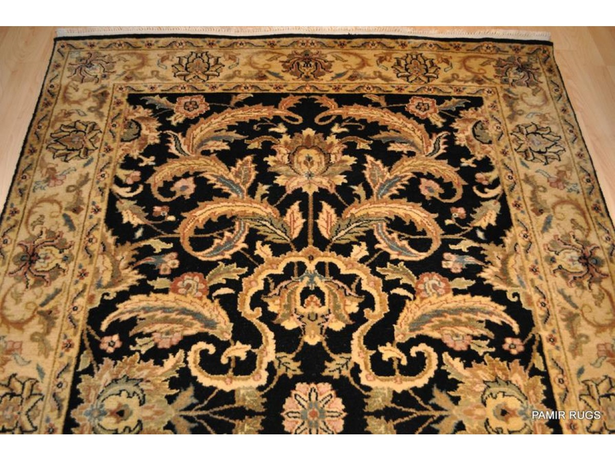 Black Background Rug Gold Color Fine Quality Handmade