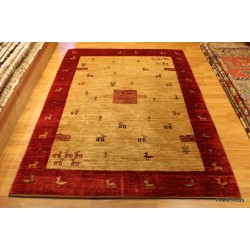 Persian Gabbeh Rug, Fine Quality Persian Rug, Beige Background.