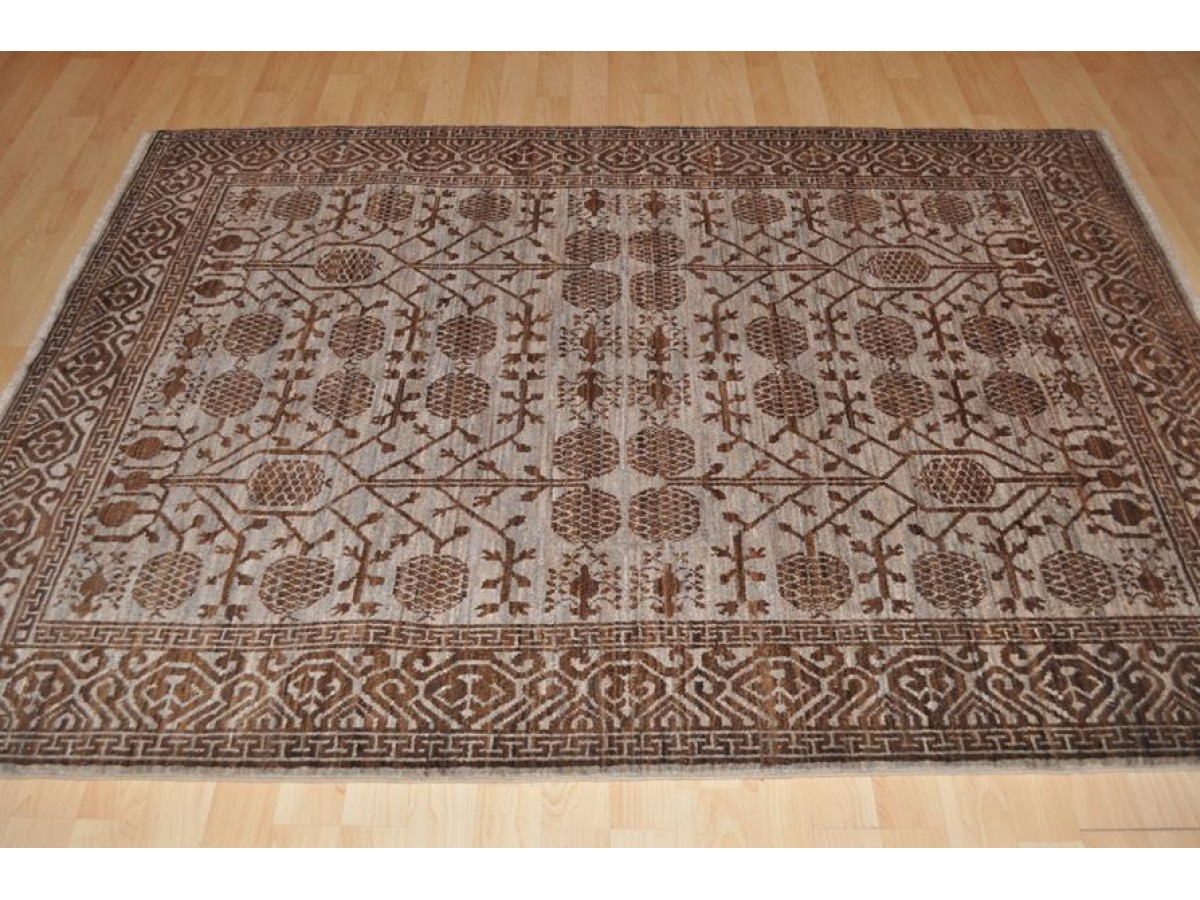 One of a kind elegant hanmdade brown rug made out of for Southwestern flooring