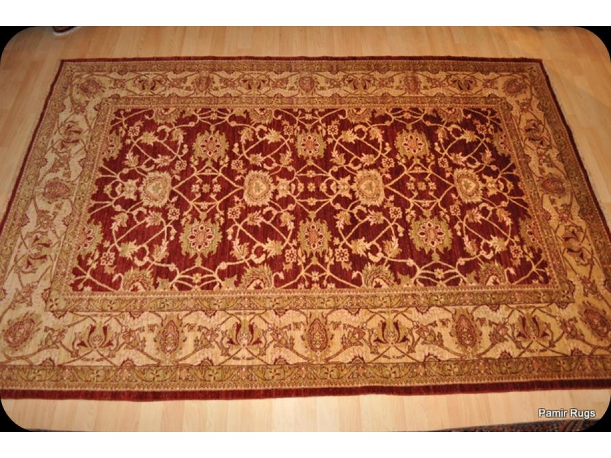 Elegant Handmade Persian Rug 6 X 9 Cherry Red Background