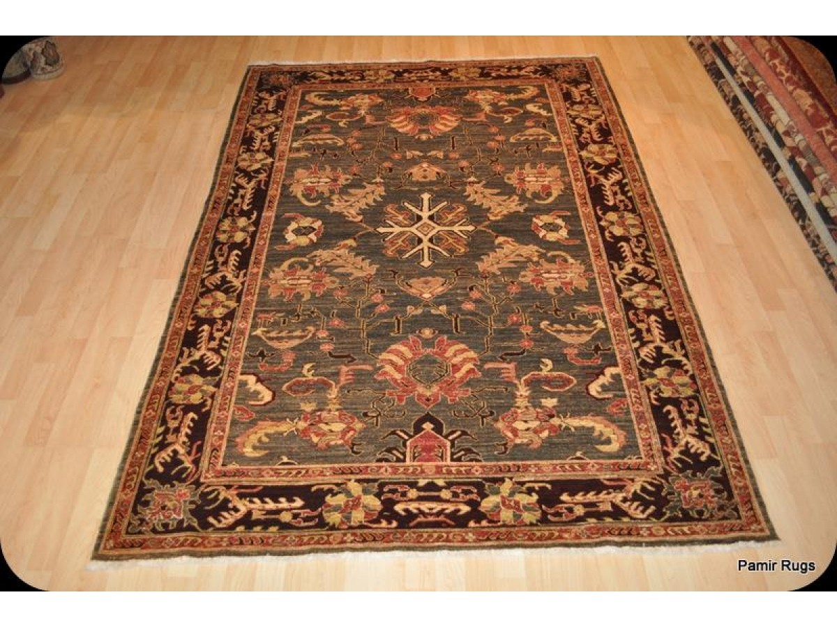Elegant High End Persian Rug 6 X 9 With Dark Green Olive Color Hand Spun Wool