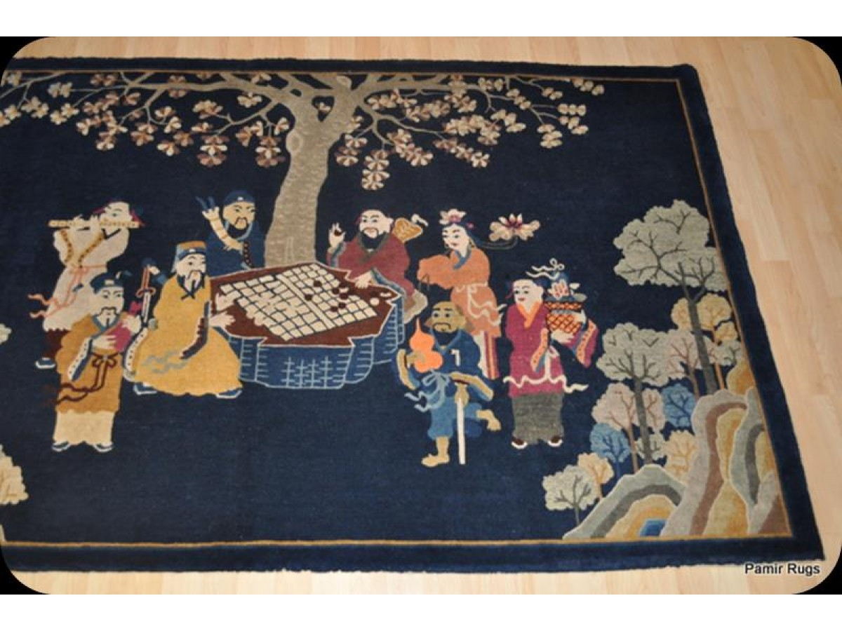 The Eight Immortals Pictorial Chinese Peking Rug 5 X 8