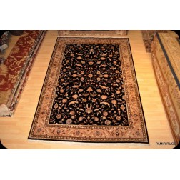 6'x9' Persian Rug Black Background Fine Quality Woven Rug