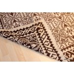 African Hand Woven Rug Brown & White Indian Navajo Design