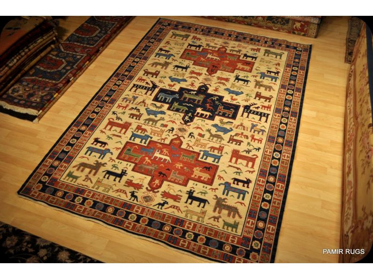 Beige Background Handmade Sumak Kilim 6 X 9 On Sale For