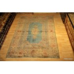 6' X 9' Light Blue Authentic Persian Kerman Circa 1920's