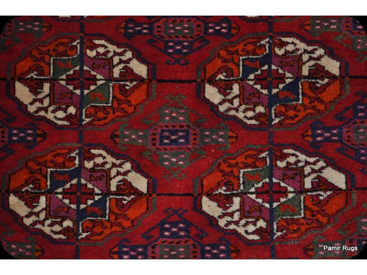 Large Handmade Antique Turkmen Bukhara Beshir 100 Wool
