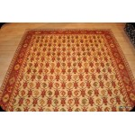 Beige Background Orange Handmade Vegetable Dyed Chobi Rug