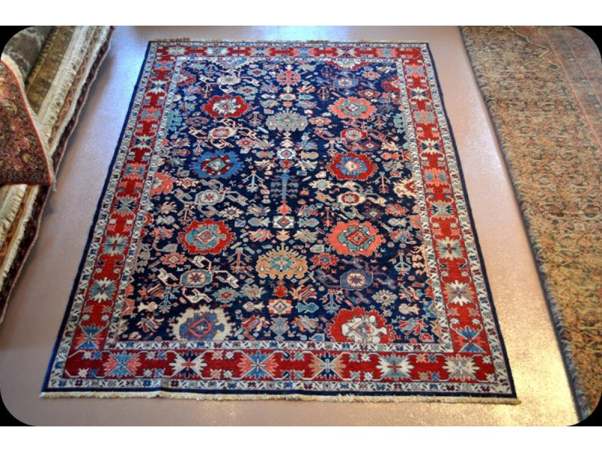 Handmade Fine Quality Royal Blue Persian Rug Vegetable