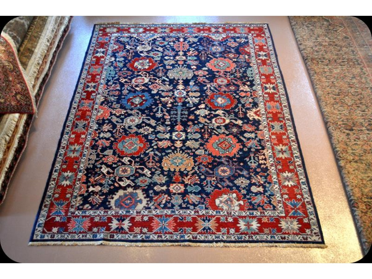 handmade fine quality royal blue persian rug vegetable dyed natural wool rug. Black Bedroom Furniture Sets. Home Design Ideas
