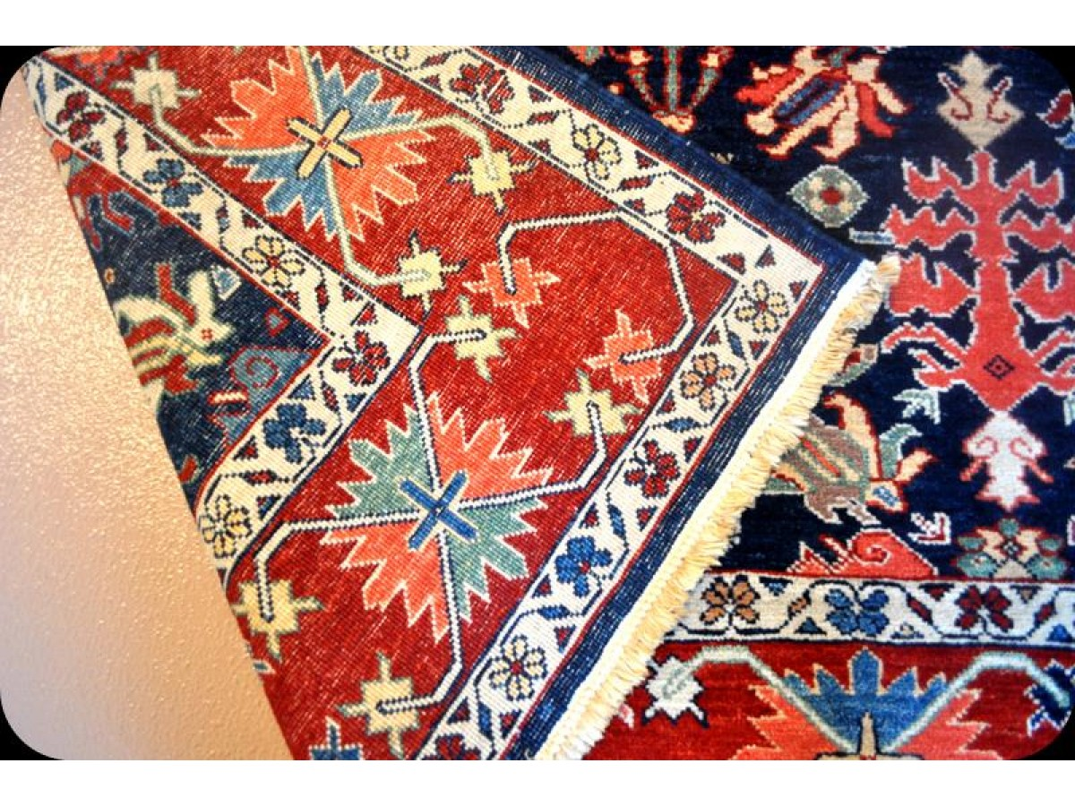 Handmade Fine Quality Royal Blue Persian Rug Vegetable Dyed Natural Wool Rug