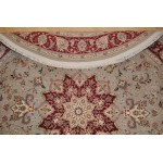 7 Ft. Round Persian Rug. Handmade Hand Knotted Wool & Silk