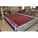 Authentic Persian Sarouk Red Background Floral Rug