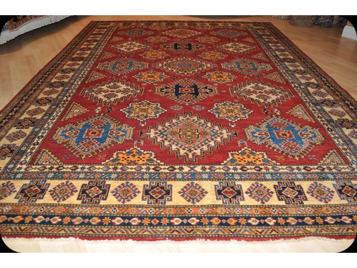 11 X 8 Handmade Caucasian Design Kazak Rug With Red