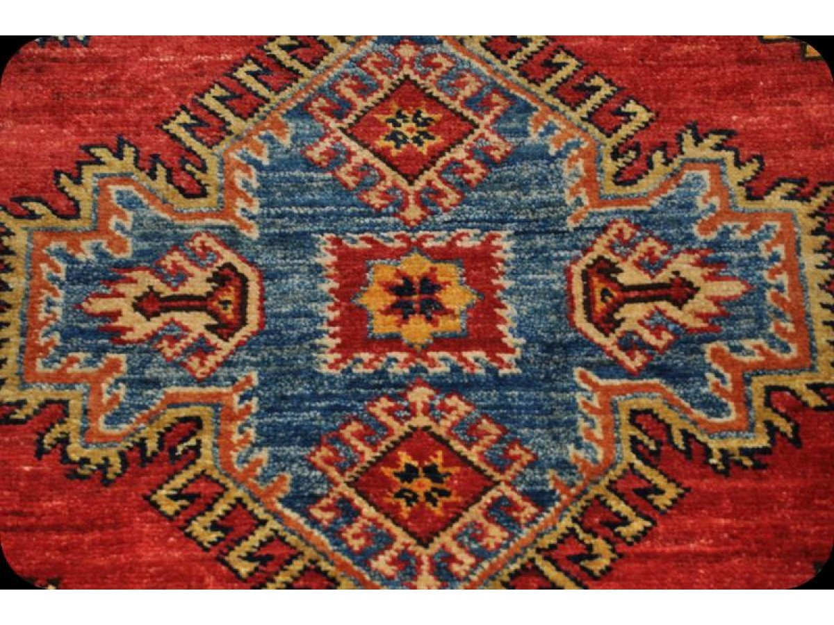 11 39 x 8 39 handmade caucasian design kazak rug with red background geometric design. Black Bedroom Furniture Sets. Home Design Ideas
