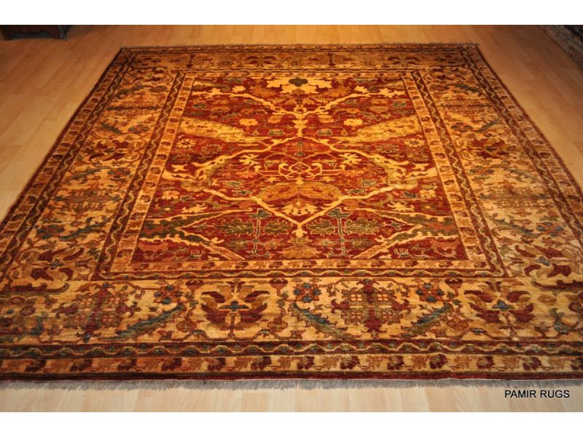 New Persian Orange Red 8 X 9 Vegetable Dyed Chobi Rug
