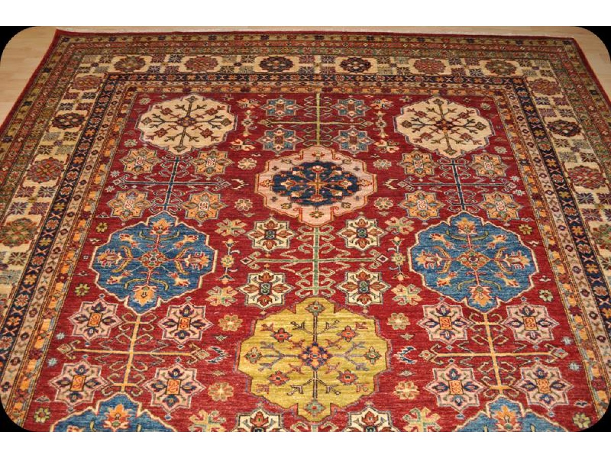 New 8 X 10 Kazak Rug Red Background Vegetable Colorful