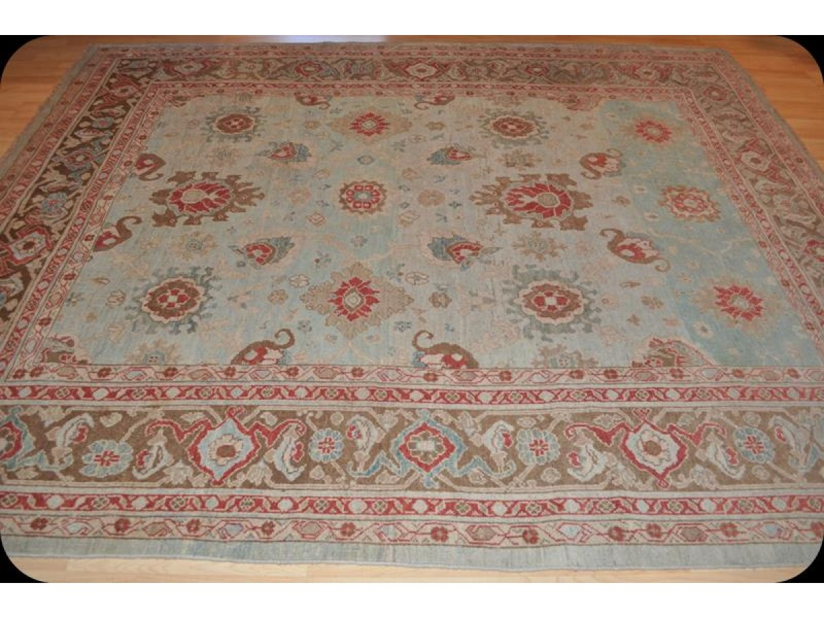 Turquoise Color Handmade Persian Mahal Rug Antique Washed